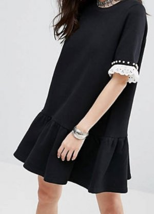 Reclaimed Vintage Vestido de tela de sudadera blanco-negro