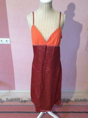 Midi Dress neon orange-brown red