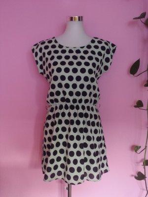 Kleid mit punkten und Spitze in schwarz/beige (K1)