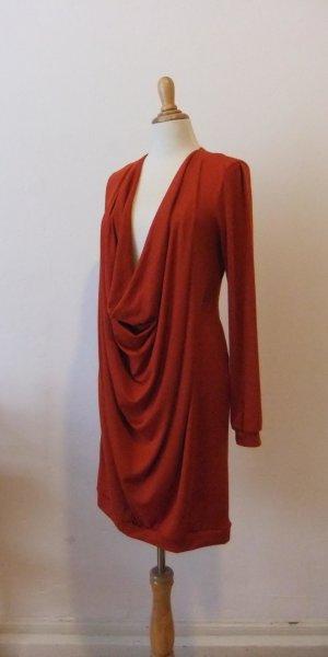 Kleid, mit riesigem Wassefrall, draped dress, rostrot, M, maternity