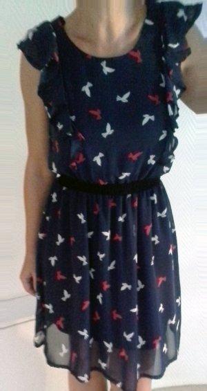 Kleid mit Rüschen im Schulter - Brustbereich, Smogtaille und Vogel Print Gr. 10