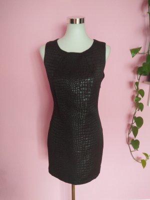 Kleid mit Schlangenmuster in schwarz (K1)