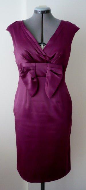 Kleid mit Schleife, Satin, fuchsia/ lila, Größe 38