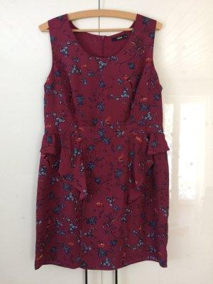 Kleid mit Schößchen - Blumen - Vögel - Volants - 42