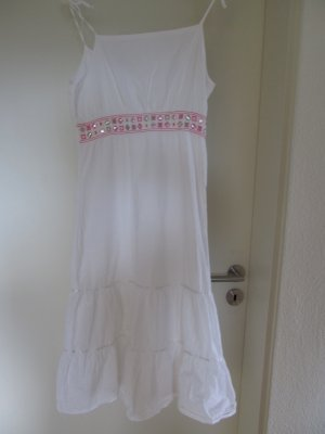 Kleid mit Spaghettiträgern und Ziersteinen weiß Gr. 36