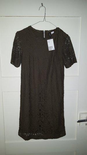 Kleid mit Spitze H&M Divided oliv Größe 36