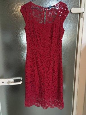 Kleid mit Spitze / Spitzenkleid rot Gr.36