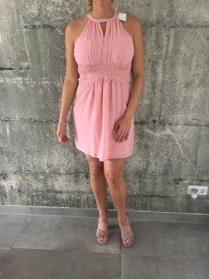 Kleid mit spitzenbordüre, rosa, gr 40, Vila Minikleid