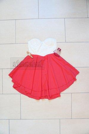 Kleid mit Spitzenbustier und Chiffonrock