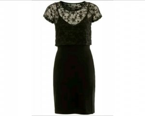 Kleid mit Spitzenoberteil schwarz Gr. S