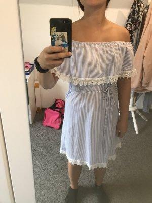Shirtwaist dress white-blue