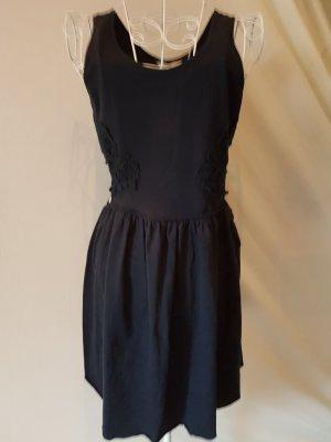 Kleid mit Taillenausschnitt, Blumenspitze, dunkelblau Gr.38