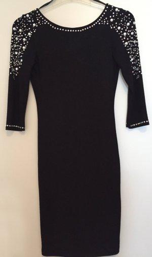 Kleid mit tiefem Rückenausschnitt und Strasssteinen in schwarz