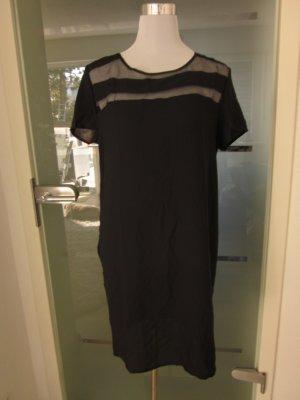 Kleid mit Transparenten Einsätzen schwarz Neu Gr 40