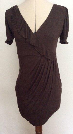 Kleid mit Volant am Ausschnitt und Wickeloptik