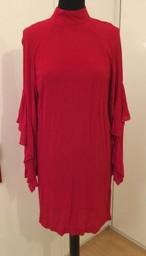 Kleid mit Volantärmel, Gr. 36, rot