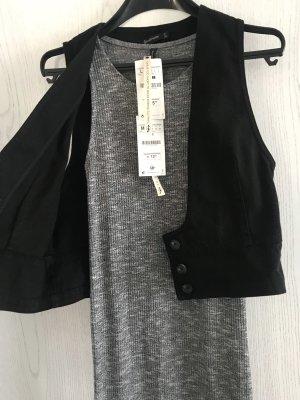 Stradivarius Vestido de tubo negro-gris