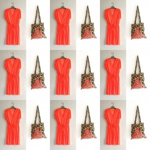 kleid / neon orange / vintage / 90s / 80s