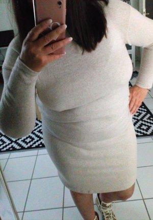 Robe pull beige clair tissu mixte