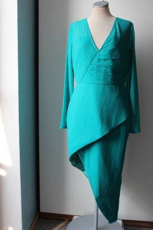 Kleid neu mit Etikett asymetrisch Satin grün Gr. UK 12 EUR 40 M L