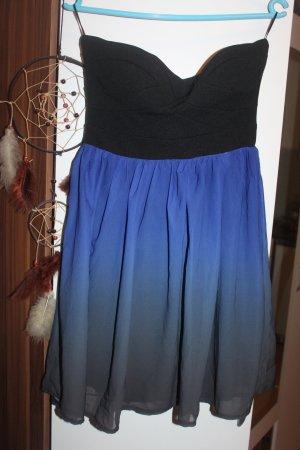 Kleid ombre blau schwarz trägerlos