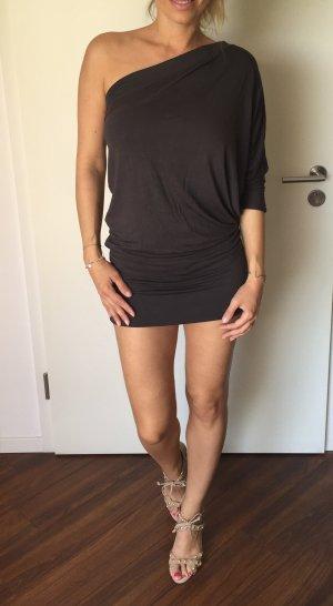 Vestido de un hombro taupe-gris antracita