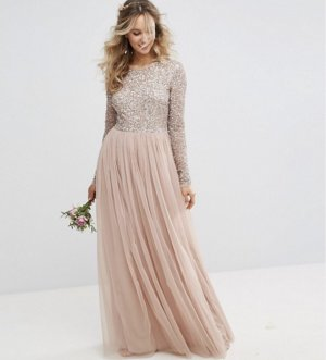 Kleid Pailletten Rose nude beige