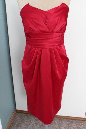 Kleid Papaya Gr. UK 12 Eur 40 L Baumwolle Cocktailkleid rot Satin Bandeaukleid