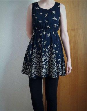 Kleid PaperPlane London Vogel-Muster blau Sommerkleid A-Linie