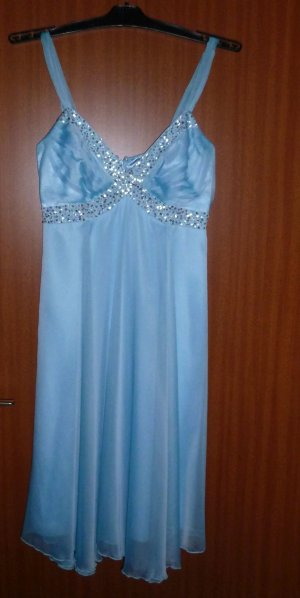 Kleid Party Abendkleid blau Pailletten Chiffon Apart Gr. 34 XS