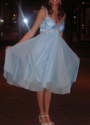 Kleid Party Abendkleid blau Pailletten Chiffon Apart Gr. 34 XS