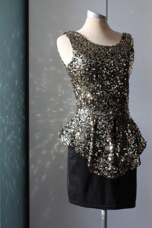Kleid Partykleid Parisian Cocktailkleid Gr. UK 8 36 S schwarz gold Pailletten