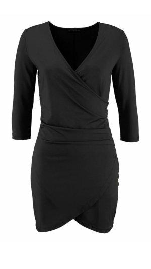 Kleid Partykleid Wickeloptik schwarz Gr 34 XS