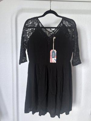 Kleid PEPE JEANS schwarz floral spitze kurz viskose S NEU