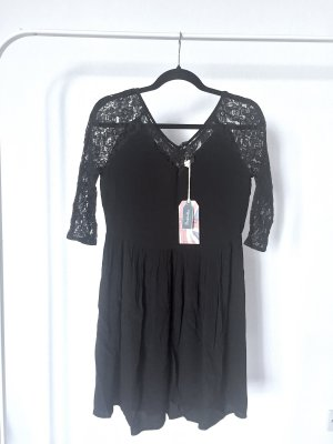 Kleid PEPE JEANS schwarz floral spitze kurz viskose XS NEU