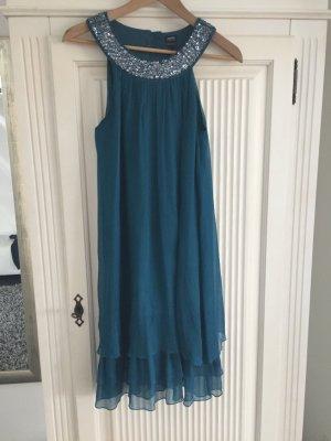Kleid petrol Pailetten Seidenkleid