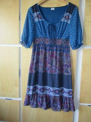 Kleid, petrol/taupe/lila gemustert mit Volant