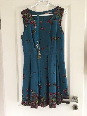 Kleid Petrolfarben mit Schmetterlingen, Gr.S