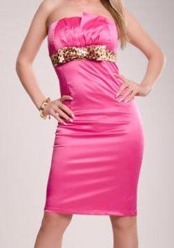 Kleid pink Leo 34 36 Bandeau Cocktailkleid Abendkleid Schleife