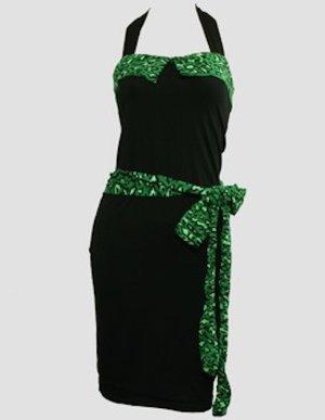 Kleid Pinup Bandeau Neckholder Leopard grün Kleid Rockabilly 34 36