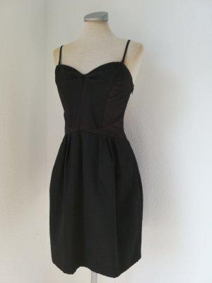 Kleid Promod schwarz Gr. 34 XS neu Cocktailkleid gerafft elegant Träger Bandeaukleid