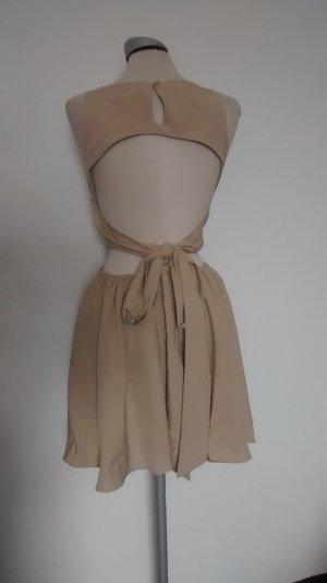 Kleid rare London rückenfrei Gr. M 40 gold beige Spitze Minikleid