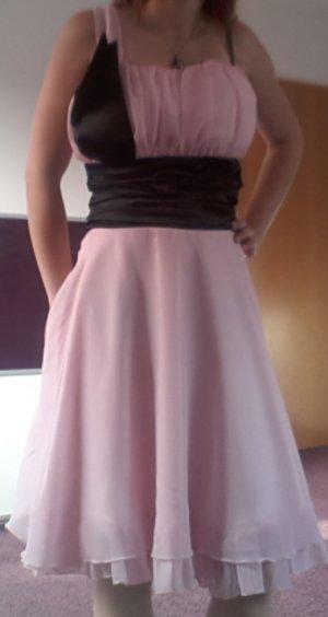 Kleid rosa / schwarz knielang