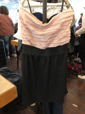 Kleid rosa schwarz schulterfrei bandeau mini süss