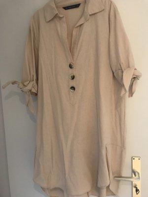 Zara Abito blusa camicia color carne Lino