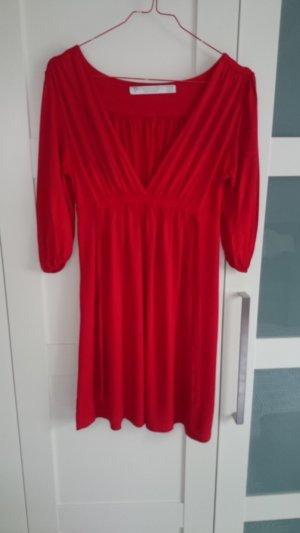 Zara Robe mi-longue rouge tissu mixte