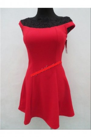 0039 Italy A Line Dress dark red-dark green spandex