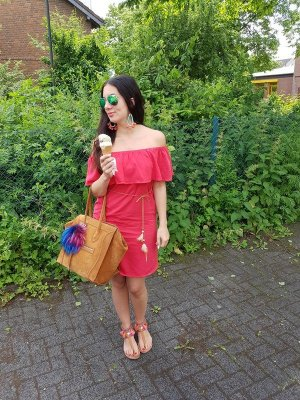 Kleid rot off shoulder Volants blogger hipster boho S Festival