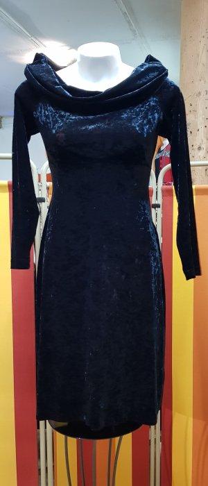 Kleid, Samt, schwarz, schimmernd, weiter Kragen, Gr. 36, Liz Clairborne