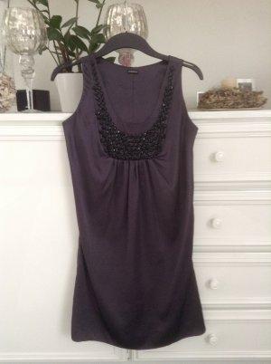 Kleid / Satinstoff / dunkelgrau mit scgwazen Pailletten / Gr. 36 S